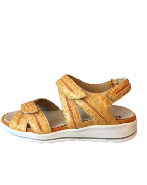 oker sandaal met kroko motief logo