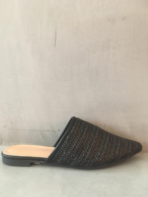 zwarte rotan slipper logo