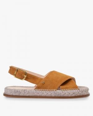 cognac suede sandaal plat logo