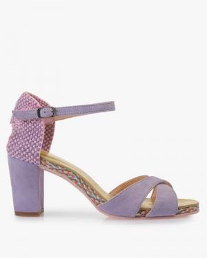 lilak suede sandaal logo