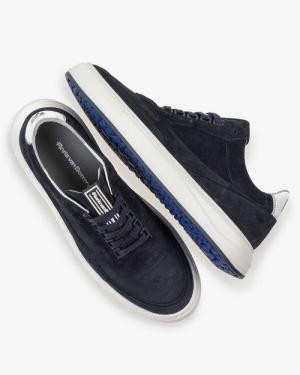 navy suede blauw